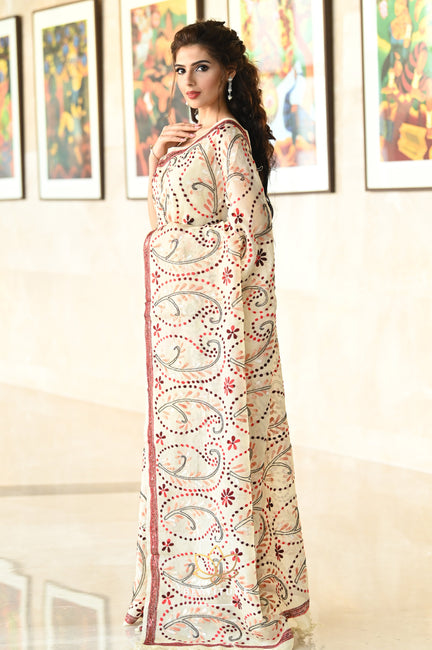 Baby Pink Handwoven Silk Linen Saree-Signature Collection-Beatitude Label