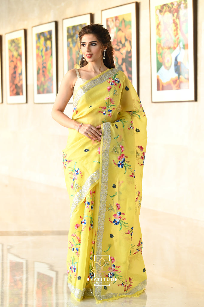 Yellow Shade Organza Silk Hand Embroidered Saree