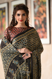 Black Handwoven Tussar Silk Saree-Signature Collection-Beatitude Label