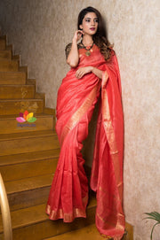 Red Handwoven Silk Linen Saree