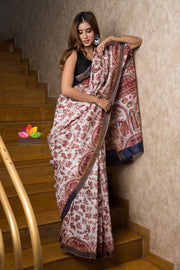 Handwoven Printed Silk Linen Saree-Signature Collection-Beatitude Label