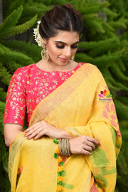Yellow Handwoven Linen Jamdani Saree
