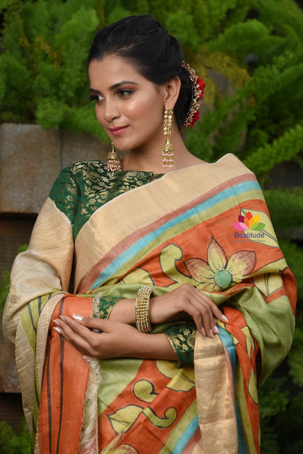 Multicolor Tussar Hand painted Saree