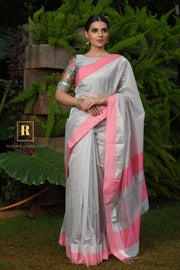 Silver Shade Handwoven Cotton Silk Maheshwari Saree