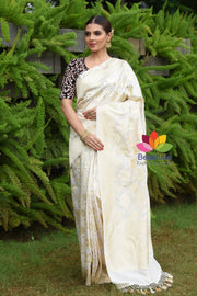 White Shade Muga Silk Jaal Banarasi Handwoven Saree
