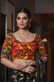 Multicolour Embroidered Georgette Half Sleeve Blouse