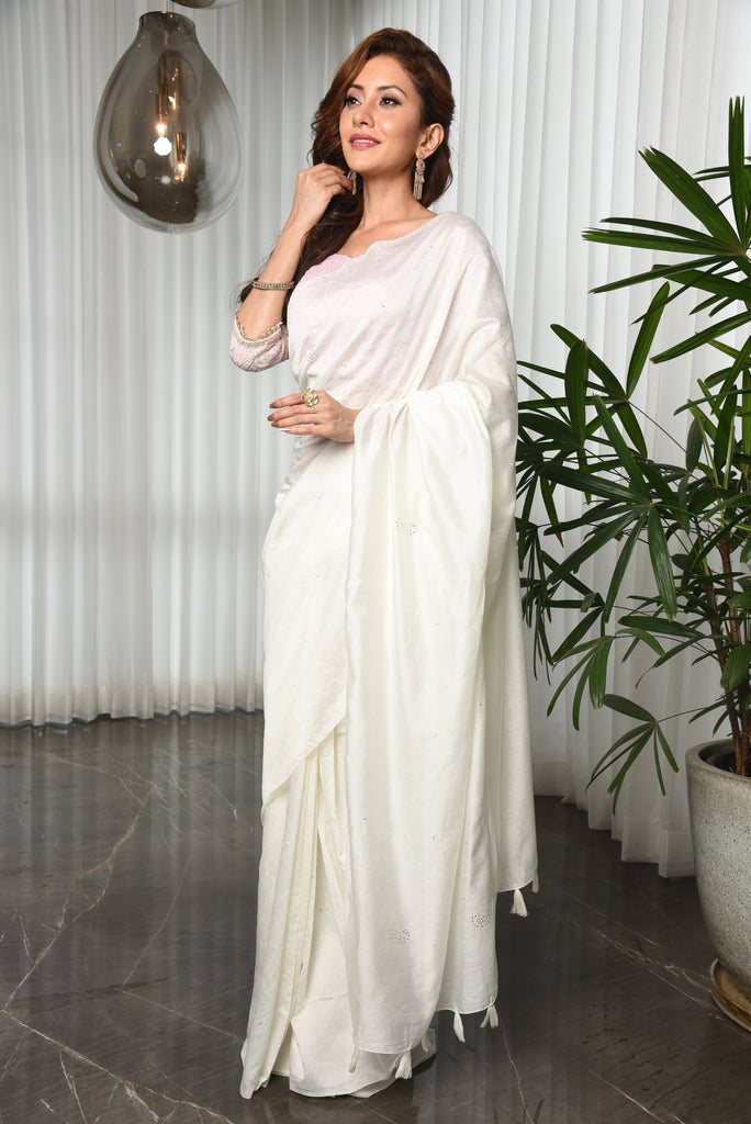 White Shade Handwoven Chanderi Cotton Saree