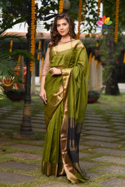 Green Handwoven Cotton Silk Maheshwari Saree