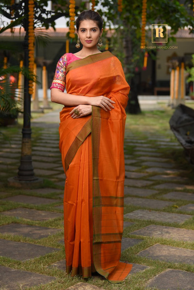 Orange Handwoven Cotton Silk Maheshwari Saree