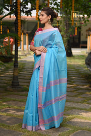 Blue Handwoven Cotton Silk Maheshwari Saree