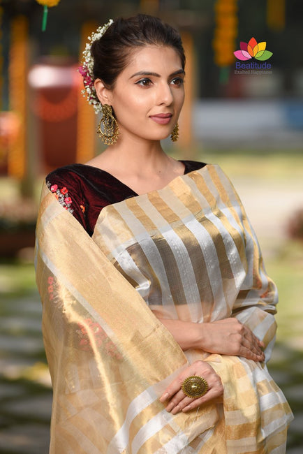 White and Golden Shade Handwoven Chanderi Silk Saree