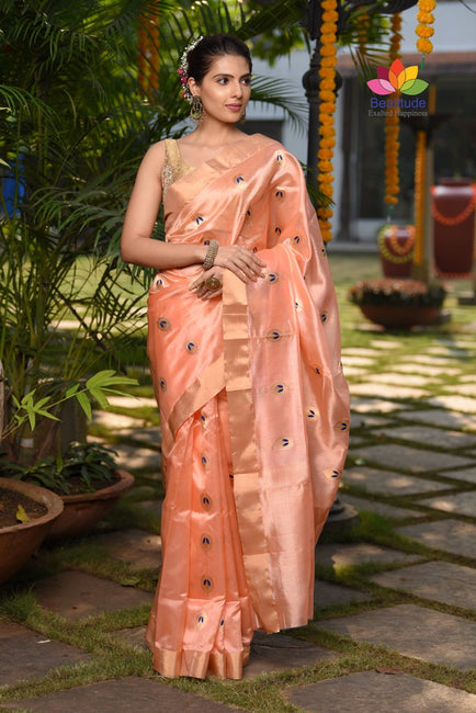 Peach Shade Handwoven Chanderi Silk Saree