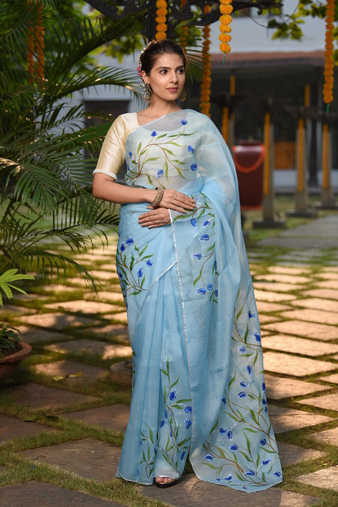 Blue Handpainted Organza Silk Saree