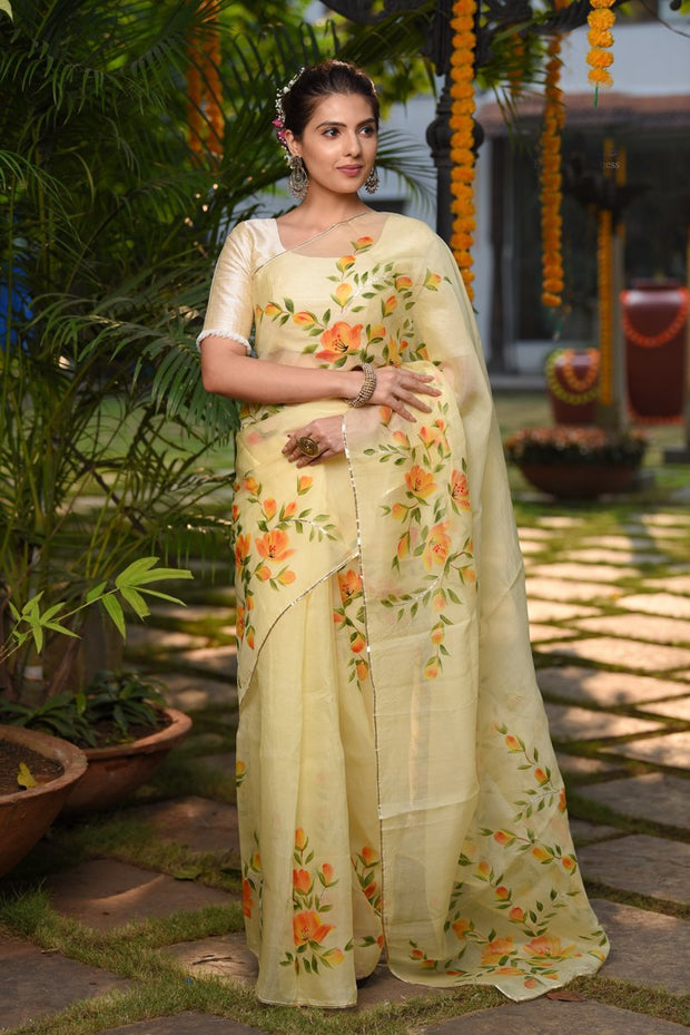 Yellow Shade Handpainted Organza Silk Saree