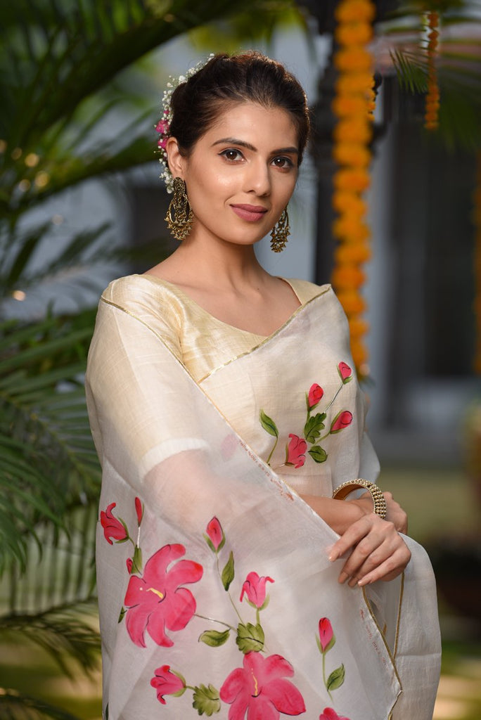 White Handpainted Organza Silk Saree