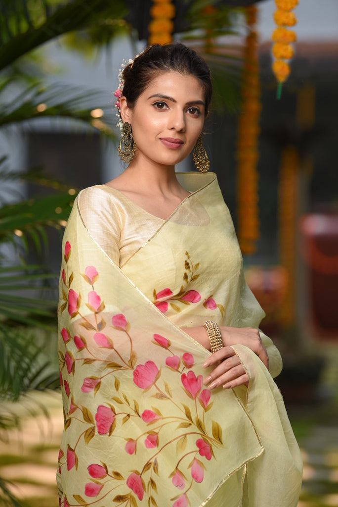 Yellow Purely Handpainted Organza Silk Saree