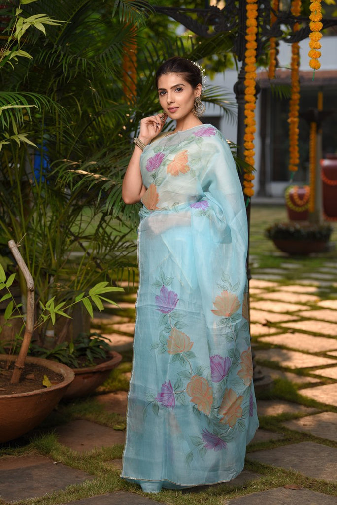 Light Blue Hand painted Organza Pure Silk Saree