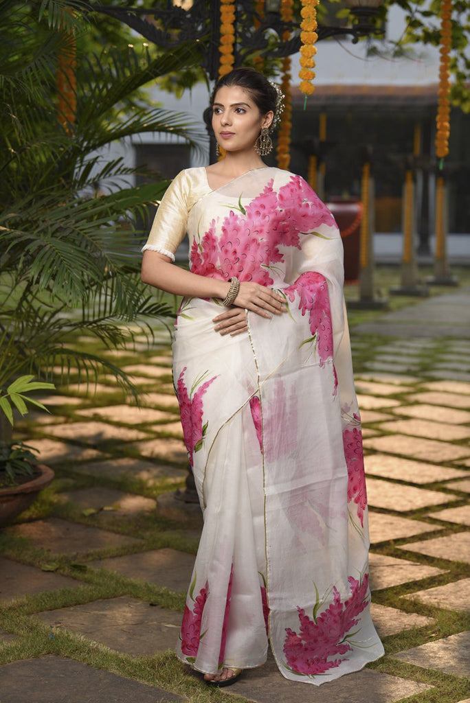 Handpainted Organza Silk Saree