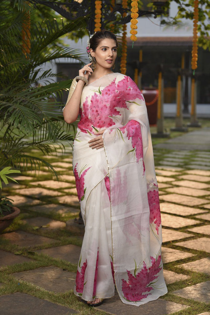 White And Pink color Organza Silk Saree