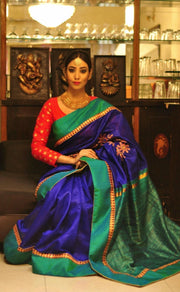 Royal Blue Handwoven Designer Dupion Silk Saree
