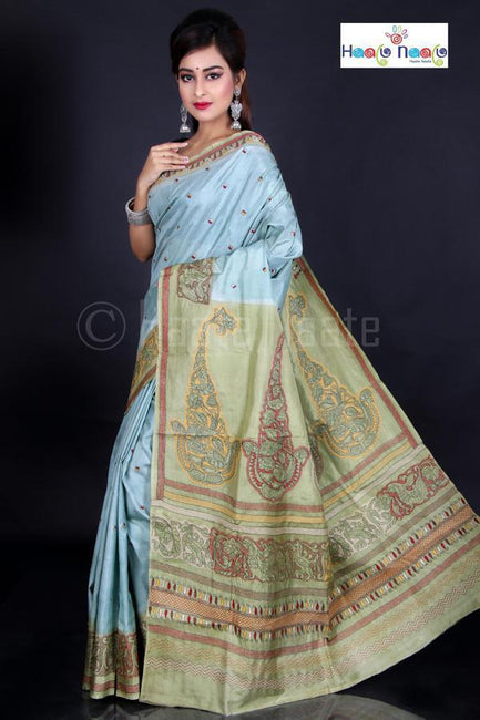 Shadow Kantha Work Bangalore Silk Saree