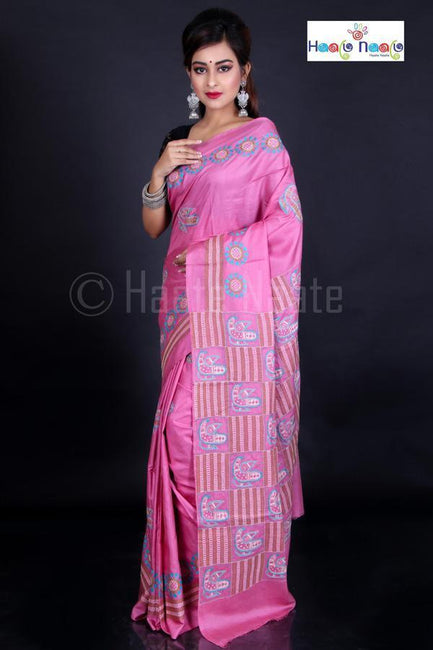 Peacock Motif Kantha Work Saree on Soft Bangladesh Silk