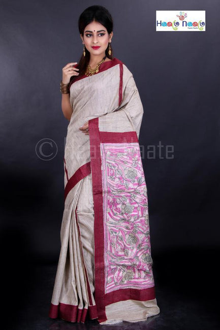Tussar Silk Saree with Kantha Pallu