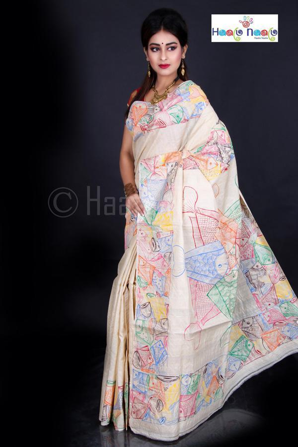 Hand Painted Fish Motif Madhubani on Tussar Silk Saree-Festival Collection-Haate Naate