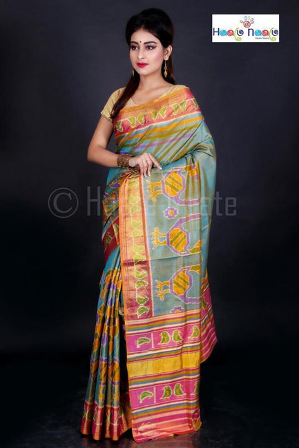 Pure Dual Tone Patola Saree with Real Tissue Embedded Weave