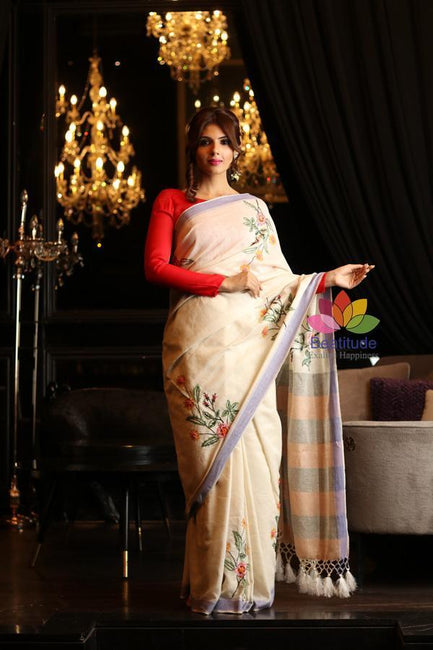 Off White Shade Handwoven Noil Silk Embroidered Saree