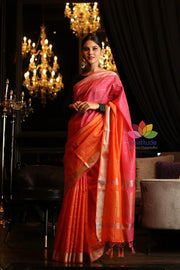 Double Shaded Banarasi Linen Handwoven Saree-October Collection-Beatitude Label