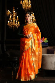 Orange Shade Banarasi Katan Silk Handwoven Saree