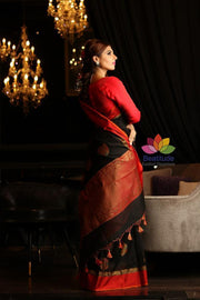 Black Maheshwari Cotton Banarasi Handwoven Saree-October Collection-Beatitude Label