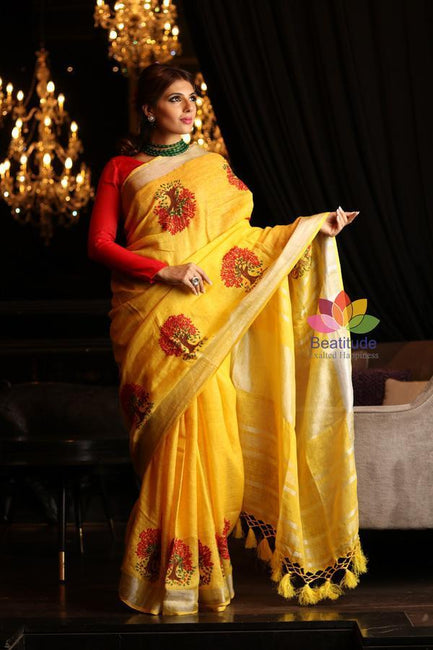 Yellow Shade Handwoven Linen Hand Embroidered Saree