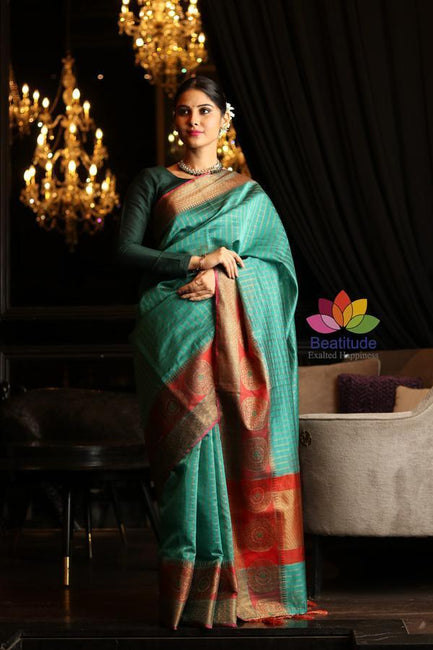 Green Shade Cotton Banarasi Handwoven Saree-October Collection-Beatitude Label