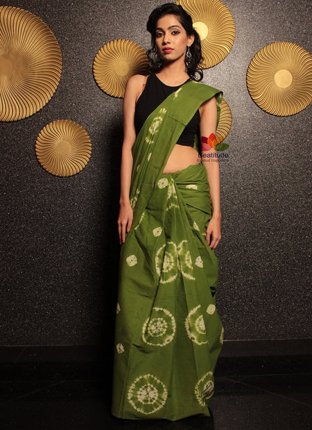 Shibori Cotton Saree-Saree-Beatitude Label