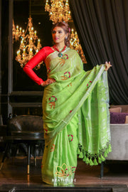 Green Shade Handwoven Linen Hand Embroidered Saree-October Collection-Beatitude Label