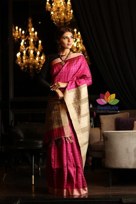 Pink Shade Handwoven Dupion Raw Silk Saree