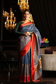 Blue Shade Cotton Banarasi Handwoven Saree-October Collection-Beatitude Label