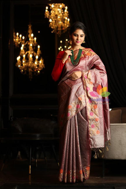 Onion Pink Shade Tissue Alfi Banarasi Handwoven Saree