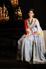 Greyish Blue Hand Embroidered Linen Saree-October Collection-Beatitude Label