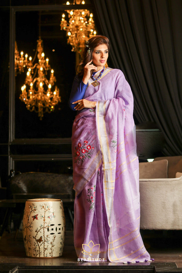 Light Lavender Shade Handwoven Linen Hand Embroidered Saree