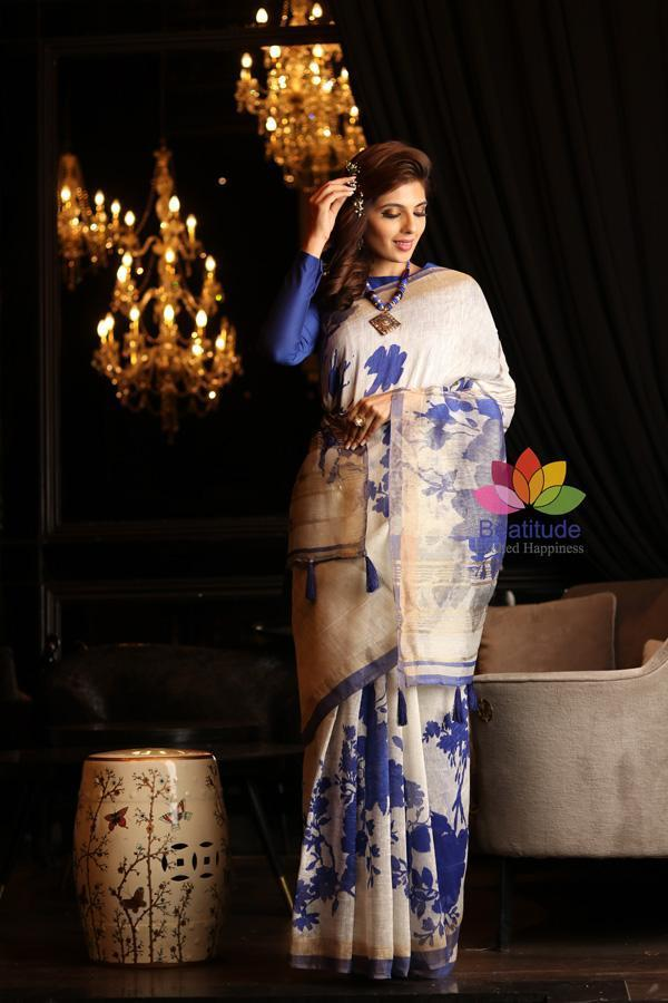 White Shade Printed Handwoven Silk Linen Saree