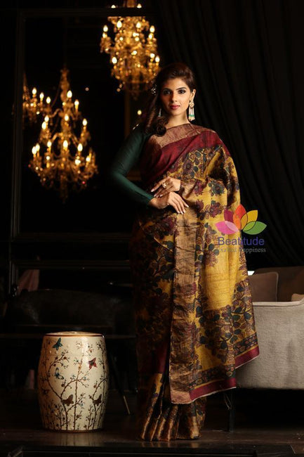 Yellow and Maroon Shade Printed Handwoven Tussar Silk Saree