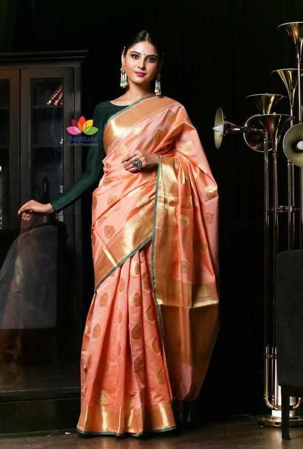 Peach Shade Banarasi Katan Silk Handwoven Saree