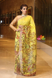 Yellow Shade Handwoven Silk Linen Saree