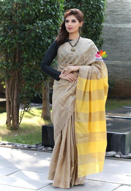Beige Shade Handwoven Tussar Silk Saree-October Collection-Beatitude Label