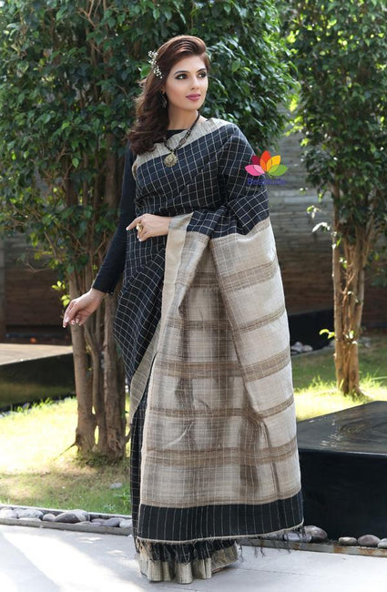 Black Handwoven Dupion Raw Silk Saree-October Collection-Beatitude Label