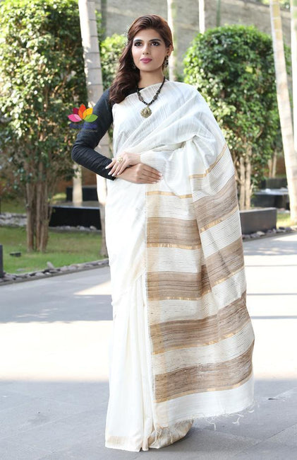 White Handwoven Dupion Raw Silk Saree