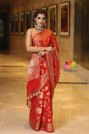 Red Shade Chiffon Jaal Banarasi Handwoven Saree